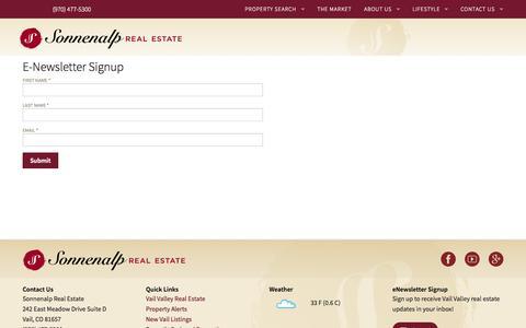 Screenshot of Signup Page sonnenalprealestate.com - Vail CO Real Estate   Sonnenalp Real Estate   E-Newsletter Signup - captured Sept. 30, 2014