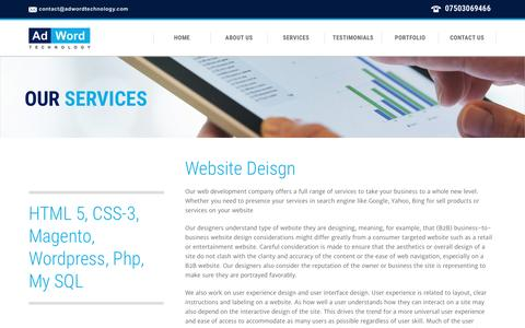 Screenshot of Services Page adwordtechnology.com - Services | Ecommerce Solutions with 20 Years Of Experience | HTML 5 With CSS3 - captured Dec. 24, 2015