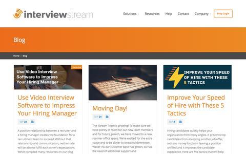 Screenshot of Blog interviewstream.com - InterviewStream Blog - Video Interviews - Video Recruitment - captured Oct. 1, 2015
