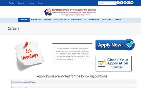 Screenshot of Jobs Page karunya.edu - Careers | Karunya Institute of Technology and Sciences - captured Sept. 22, 2018