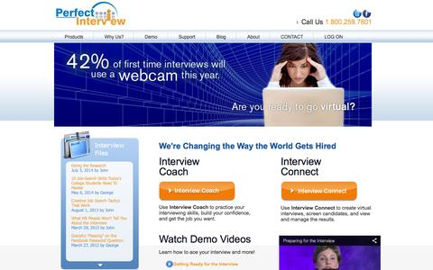 Screenshot of Home Page perfectinterview.com - Perfect Interview | Changing the Way the World Gets Hired - captured Oct. 2, 2014
