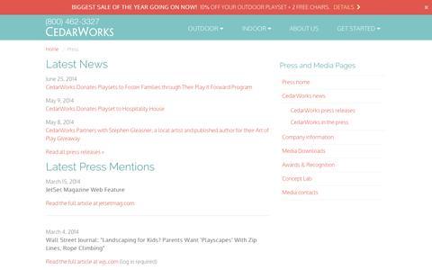 Screenshot of Press Page cedarworks.com - Press and Media | CedarWorks - captured Sept. 24, 2014