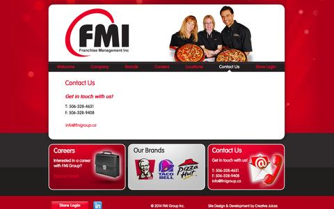 Screenshot of Contact Page fmigroup.ca - Contact Us  |  FMI Group - captured Oct. 5, 2014