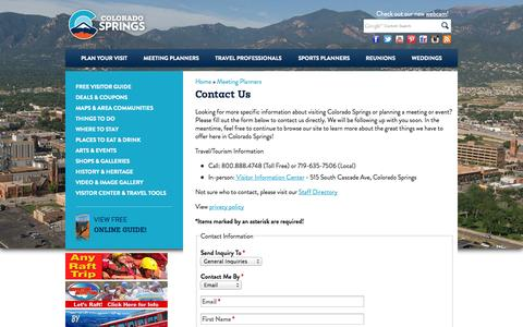 Screenshot of Contact Page visitcos.com - Contact Us | Colorado Springs Vacation & Tourism Information - Colorado Springs Colorado - captured Sept. 19, 2014