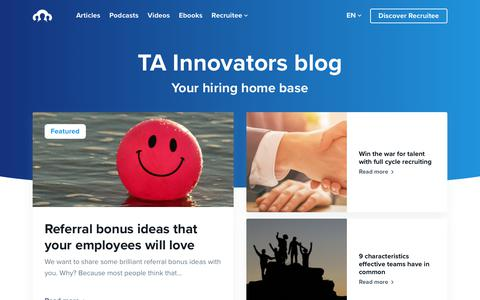 Screenshot of Blog recruitee.com - TA Innovators blog - Your hiring home base by Recruitee - captured Jan. 3, 2020