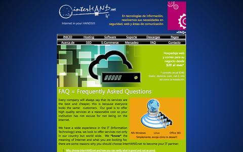 Screenshot of FAQ Page interhand.net captured Sept. 30, 2014