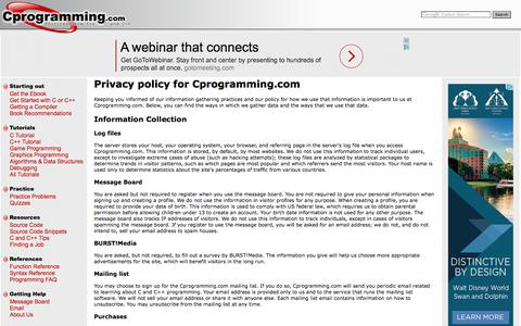 Screenshot of Privacy Page cprogramming.com - Privacy Policy - Cprogramming.com - captured Sept. 22, 2017