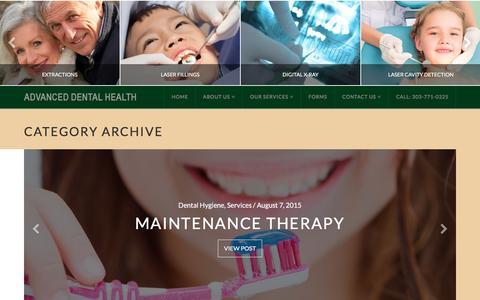 Screenshot of Services Page advanceddentalhealthdenver.com - Services Archives - Advanced Dental Health - captured Jan. 26, 2016