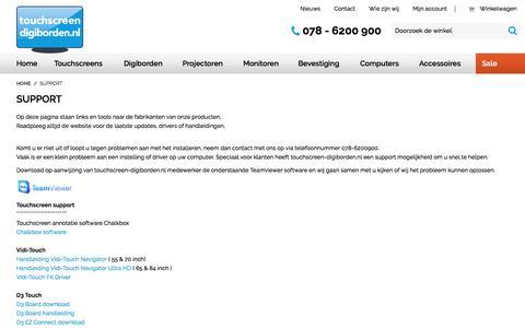 Screenshot of Support Page touchscreen-digiborden.nl - Support - captured Dec. 14, 2016