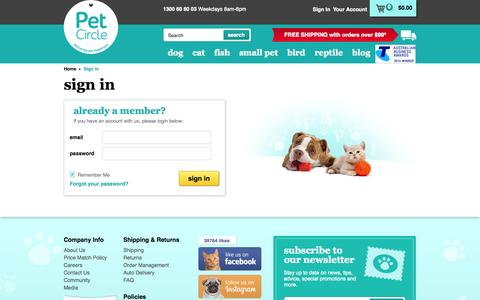 Screenshot of Login Page petcircle.com.au - Sign in to your account | Pet Circle - captured Oct. 28, 2014