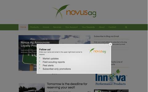Screenshot of Home Page novusag.com - Novus Ag - captured Aug. 14, 2015
