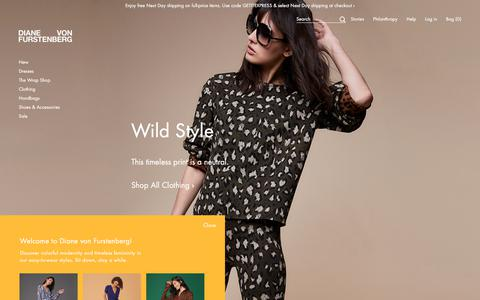 Screenshot of Home Page dvf.com - DVF Official Site - Shop Diane von Furstenberg's Wrap Dresses, Handbags, and Accessories - Enjoy Free Shipping & Returns - captured Sept. 21, 2018