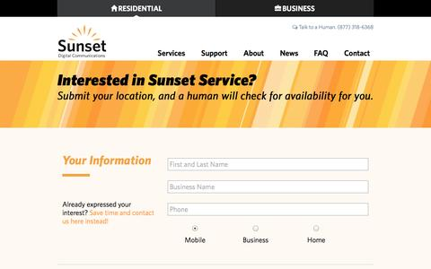 Screenshot of Signup Page sunsetcom.net - Sunset Digital Communications - captured Nov. 5, 2014