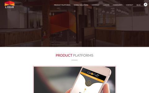 Screenshot of Products Page lixar.com - Product Platforms   Lixar.com - captured Sept. 29, 2018