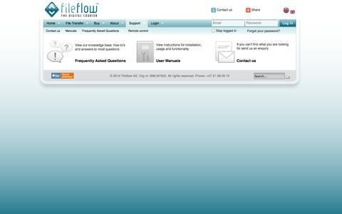 Screenshot of Support Page fileflow.com - Fileflow | Support - captured Sept. 19, 2014