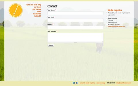 Screenshot of Contact Page wastefarmers.com - Contact | Waste Farmers - captured Oct. 27, 2014