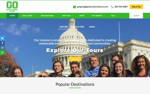 Screenshot of Home Page goeducationaltours.com - GO Educational Tours - captured Aug. 14, 2019