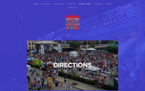 Screenshot of Maps & Directions Page worldslargestblockparty.com - Directions — World's Largest Block Party - captured Oct. 30, 2017