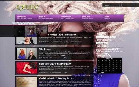 Screenshot of Blog exurebeauty.com - Exure ~ Blog | exurebeauty.com - captured Oct. 3, 2014