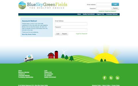 Screenshot of Login Page blueskygreenfields.com - Blue Sky Green Fields - captured Sept. 25, 2014
