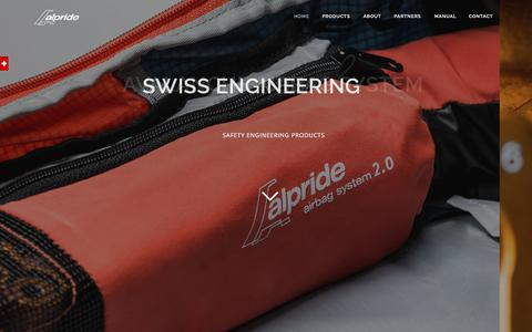 Screenshot of Home Page alpride.com - Alpride - Swiss Avalanche Airbag System - captured July 29, 2018