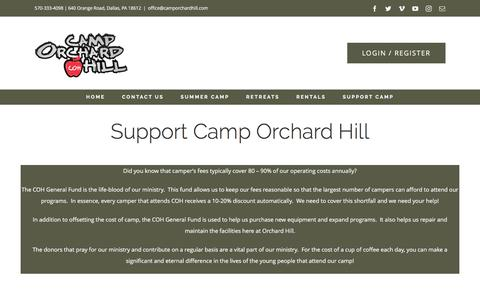 Screenshot of Support Page camporchardhill.com - Support Camp Orchard Hill | Camp Orchard Hill, Dallas, PA - captured May 14, 2017