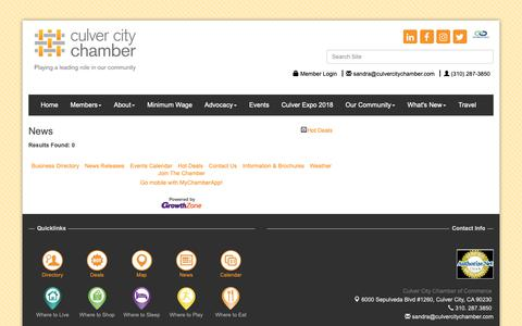 Screenshot of Press Page culvercitychamber.com - News - Culver City Chamber of Commerce, CA - captured Sept. 30, 2018
