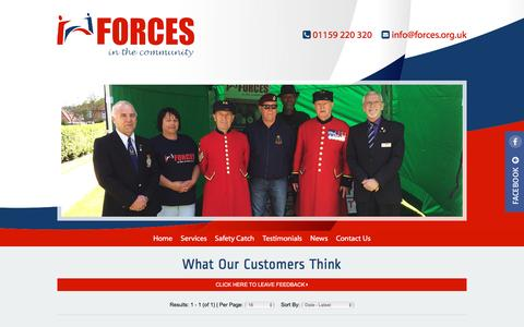 Screenshot of Testimonials Page forces.org.uk - Help & Support For Ex Servicemen – Forces in the Community - Testimonials - captured Nov. 25, 2016