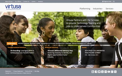 Screenshot of Home Page virtusa.com - IT Consulting Outsourcing and Agile Software Development - Virtusa - captured Oct. 7, 2014
