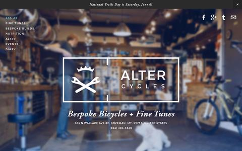 Screenshot of Home Page alter-cycles.com - Alter Cycles - captured June 17, 2015