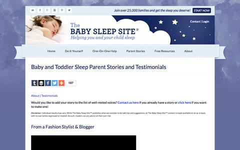 Screenshot of Testimonials Page babysleepsite.com - Baby and Toddler Sleep Parent Stories and Testimonials | The Baby Sleep Site - Baby / Toddler Sleep Consultants - captured Jan. 15, 2016