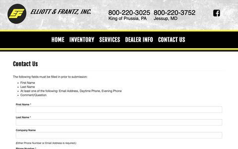 Screenshot of Contact Page elliottfrantz.com - Contact Us | Elliott & Frantz, Inc. - captured Sept. 28, 2018
