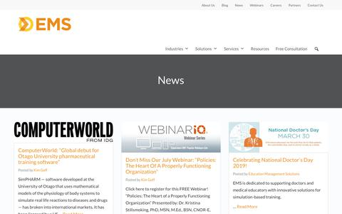 Screenshot of Press Page simulationiq.com - EMS News   Education Management Solutions - captured Oct. 27, 2019