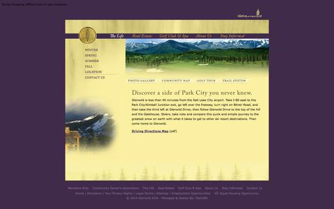 Screenshot of Maps & Directions Page glenwild.com - Golf Real Estate: Glenwild, Park City, Utah - captured Oct. 2, 2014