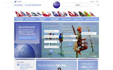 Screenshot of Home Page oneworld.com - Home - oneworld - captured Oct. 1, 2015