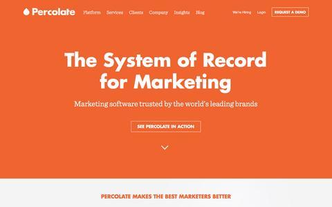 Screenshot of Home Page percolate.com - Percolate | Complete Marketing Software for Global Brands - captured Nov. 2, 2015