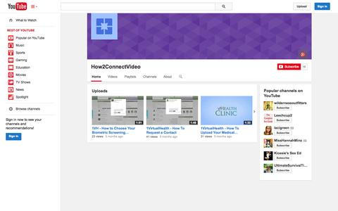 Screenshot of YouTube Page youtube.com - How2ConnectVideo  - YouTube - captured Oct. 23, 2014