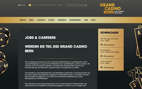 Screenshot of Jobs Page grandcasino-bern.ch - Jobs - Grand Casino Bern - captured Sept. 30, 2018