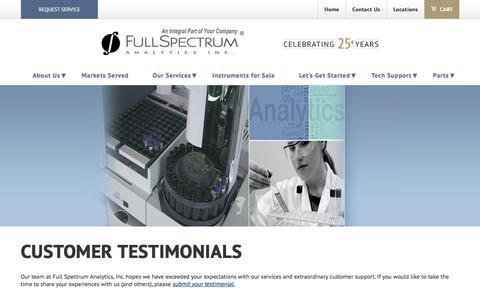 Screenshot of Testimonials Page fsaservice.com - Full Spectrum Analytics Customer Testimonials - captured Oct. 14, 2017