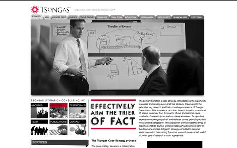 Screenshot of Services Page tsongas.com - Litigation Strategy - Trial Strategy | Tsongas Litigation Consulting, Inc. - captured Oct. 7, 2014