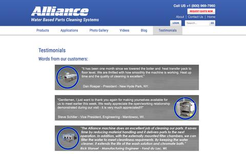 Screenshot of Testimonials Page alliancemfginc.com - Customer Testimonials on Alliance Manufacturing Part Washers - captured Oct. 8, 2017