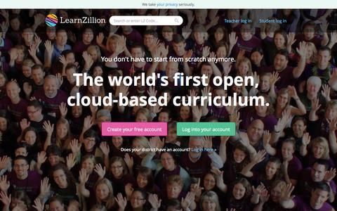 Screenshot of Home Page learnzillion.com - LearnZillion - captured Nov. 5, 2015