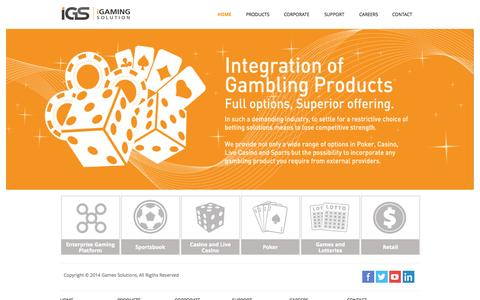 Screenshot of Home Page igamingsolution.com - iGaming Solution - captured Sept. 30, 2014
