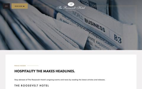 Screenshot of Press Page theroosevelthotel.com - See Recent Press About The Roosevelt Hotel in Midtown Manhattan - captured Nov. 7, 2018