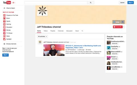 Screenshot of YouTube Page youtube.com - Jeff Thibodeau channel  - YouTube - captured Oct. 23, 2014
