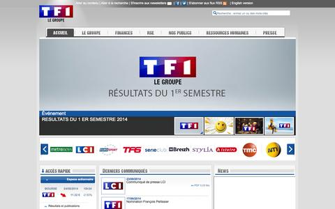 Screenshot of Home Page groupe-tf1.fr - Site corporate du groupe TF1 - Site corporate du groupe TF1 - captured Sept. 24, 2014