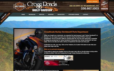 Screenshot of Services Page crossroads-hd.com - Parts Department   CrossRoads Harley-Davidson®   Wilkesboro North Carolina - captured Oct. 3, 2014