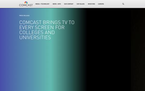 Screenshot of Press Page comcast.com - Media + Technology - captured Sept. 13, 2014