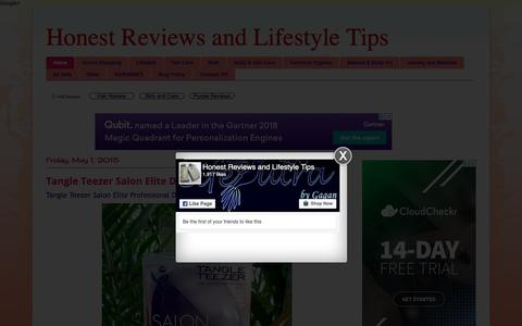 Screenshot of Home Page reviewsandlifestyle.com - Honest Reviews and Lifestyle Tips - captured Oct. 14, 2018