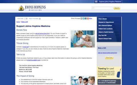 Screenshot of Support Page hopkinsmedicine.org - Support Johns Hopkins Medicine - captured Sept. 16, 2014